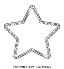 Silver chain star border frame. Wreath starry shape. Jewelry accessory design, text frame. Realistic vector illustration isolated on a white background.