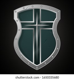 Silver Christian Cross and Shield of Faith. Church Logo. Religious Symbol. Creative Christian Icon. Protection, Safety, Security Sign. Isolated on Dark Background