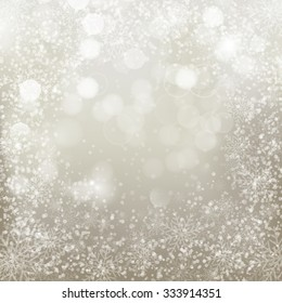 Silver christmas background with  snowflakes. Vector illustration for Christmas posters, icons, Christmas greeting cards, Christmas print and web projects.