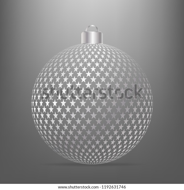 Silver christmas ball with star pattern. Vector illustration isolated on gray background with light from above.