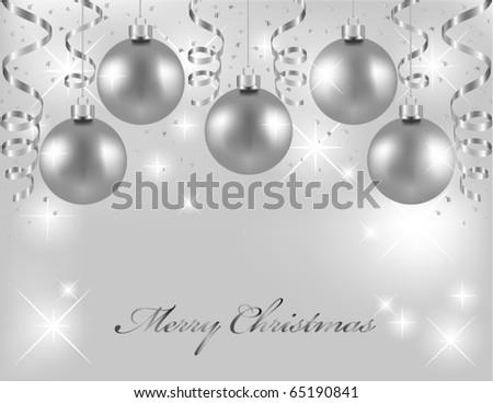 Silver Christmas Balls Stock Vektorgrafik Lizenzfrei 65190841