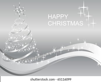 silver christmas card - vector