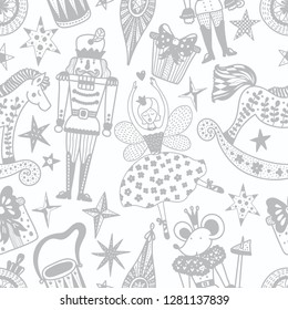 Silver Christmas vector seamless Nutcracker pattern.  Seamless pattern can be used for wallpaper, pattern fills, web page background, surface textures.