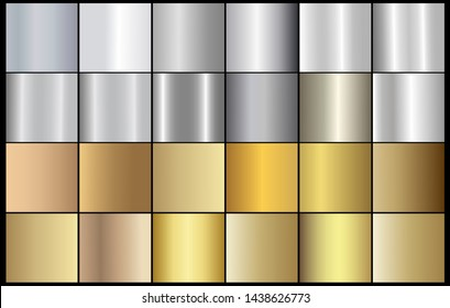 Silver chrome metal texture vector icon set. Shiny silver brushed vector metallic gradient background for banner, ribbon, label, medal, button, money. Silver abstract background chrome gradient