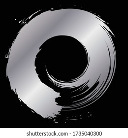 Silver circle drawn with a brush.