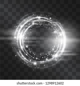 Silver circle flare frame with glowing tail of shining stardust sparkles, cold illumination. Glistening blizzard energy ring flows in motion, outer space light effect portal. Luxurious design element.