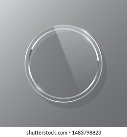 Silver circle glass frame realistic vector mockup set. Luxurious makeup mirror isolated on gray background. Round glossy decorations illustration. Modern interior decor items