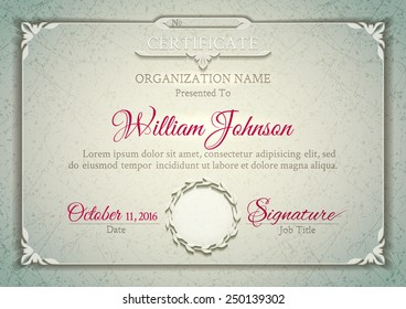 Silver classic certificate with a marble texture, vintage decorative elements and frame with space for stamp seal and congratulatory text