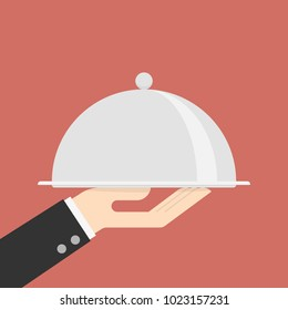Silver Cloche In The Hand. Business Concept Illustration.