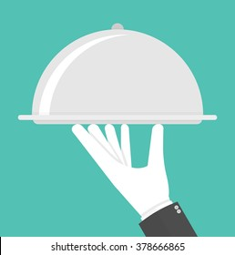 Silver cloche in hand concept. Hand holding or carrying silver serving platter with cover. Flat style