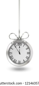 Silver clock, hanging on silver ribbon with bow, design element for New years invitation and greeting cards. EPS 10 contains transparency.
