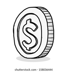 silver coin / cartoon vector and illustration, isolated on white background.
