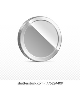 Silver coin isolated on transparent background in different positions. Illustration, vector
