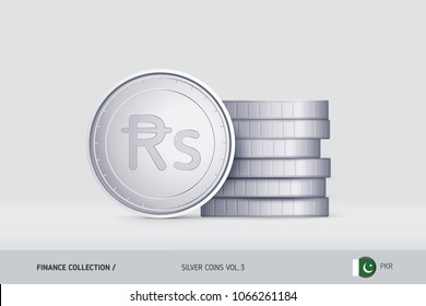 Silver coins. Realistic Pakistani Rupee coin standing near of stacked coins. Finance concept for websites, web design, mobile app, infographics.