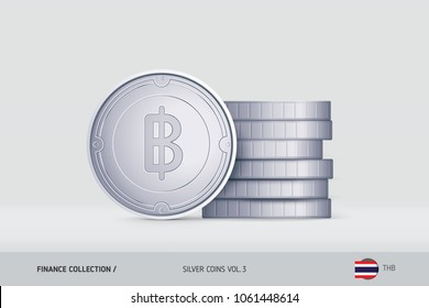 Silver coins. Realistic Thai Baht coin standing near of stacked coins. Finance concept for websites, web design, mobile app, infographics.