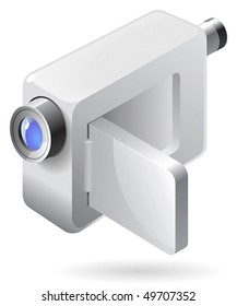 Silver compact video camera. Vector illustration.