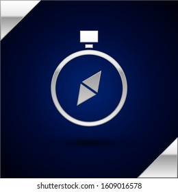 Silver Compass icon isolated on dark blue background. Windrose navigation symbol. Wind rose sign.  Vector Illustration