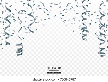 Silver confetti background with frame in celebration concept.