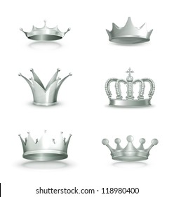 Silver crowns, vector set