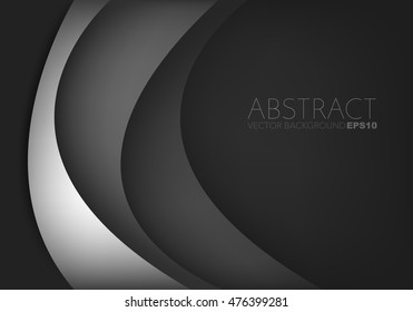 Silver curve background vector with black dark space for text and message design
