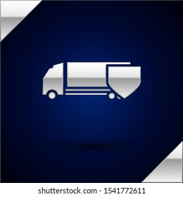 Silver Delivery cargo truck with shield icon isolated on dark blue background. Insurance concept. Security, safety, protection, protect concept.  Vector Illustration