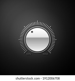 Silver Dial knob level technology settings icon isolated on black background. Volume button, sound control, music knob with scale, analog regulator. Long shadow style. Vector.