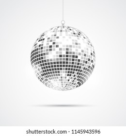 Silver Disco club isolated on white. Dance club decorative sign. Vector