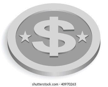 silver dollar coin isolated on white, vector illustration