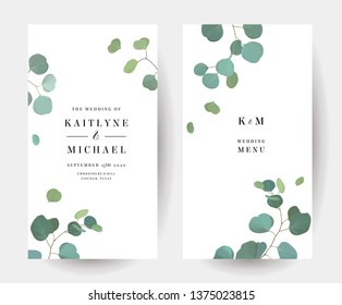 Silver dollar eucalyptus branches vector design simple frames set. Wedding greenery invitation. Minimalist style. Mint, blue tones. Natural cards design. Watercolor collection. Isolated and editable