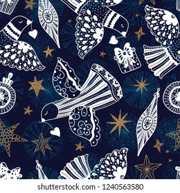 Silver doves and stars. Christmas motif. Vector seamless pattern.