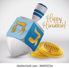Silver dreidel with  golden symbols and golden gelts for Hanukkah.