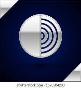 Silver Earth structure icon isolated on dark blue background. Geophysics concept with earth core and section layers earth.  Vector Illustration