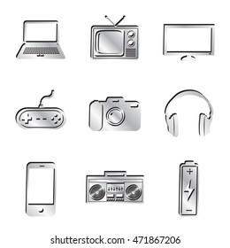 Silver Electronics Icon Set