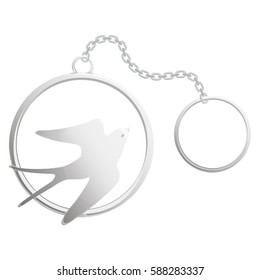 Silver elegant key chain with the image in the form of a swallow, vector isolated.