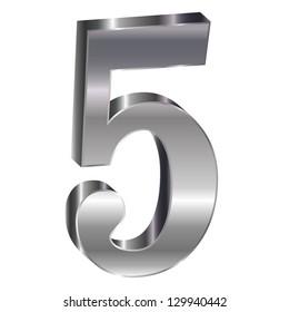 Silver emblem number 5