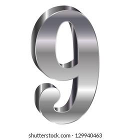 Silver emblem number 9