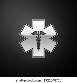 Silver Emergency star - medical symbol Caduceus snake with stick icon isolated on black background. Star of Life. Long shadow style. Vector.