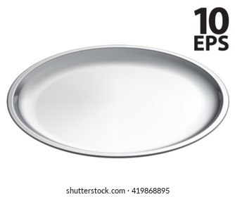 Silver empty tray, isolated. 3D vector illustration