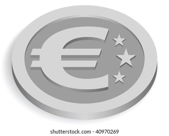 silver euro coin isolated on white, vector illustration