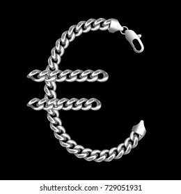 Silver euro money sign made of shiny thick silver chains with a lobster claw clasp lock. Realistic vector detailed illustration isolated on a black background.