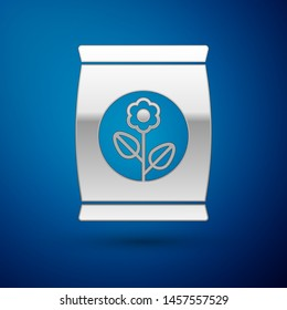 Silver Fertilizer bag icon isolated on blue background.  Vector Illustration