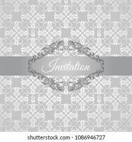 Silver floral invitation with a floral frame. This image is a vector illustration