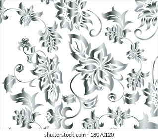 Silver flowery background pattern vector illustration