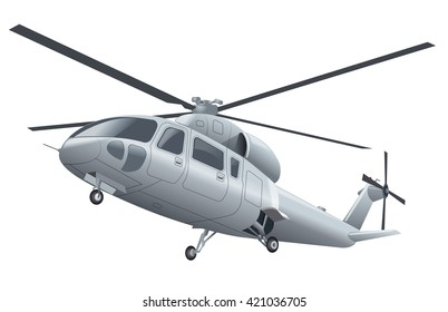 silver flying helicopter with chassis in the air