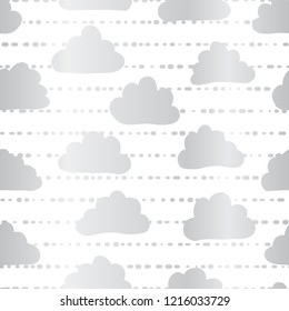 Silver foil clouds in the sky seamless vector pattern background. Metallic clouds on striped white background. Great for kids, paper, web banner, party, celebration, wedding, baby showers, birthday