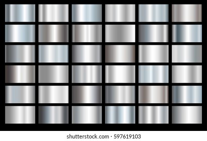 Silver foil texture background set. Grey, chrome vector elegant, shiny and metal gradient collection template for silver border, frame, ribbon design