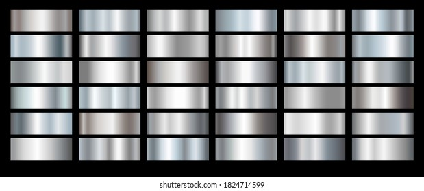 Silver foil texture set background. Vector shiny and metal steel gradient collection for chrome border, iron frame, ribbon or label design