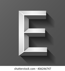 Silver font with bevel, letter E vector