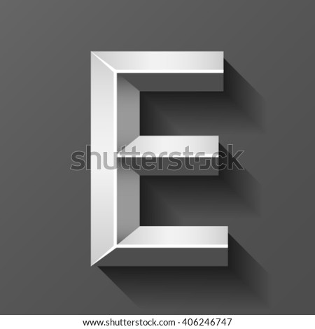 Silver Font Bevel Letter E Vector Stock Vector Royalty Free