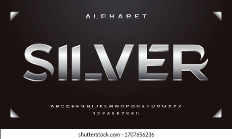 Silver fonts and alphabet, luxury expensive trendy sport modern minimal classic letters metallic urban royal modern futuristic typeface typo typography and number. Vector illustration.